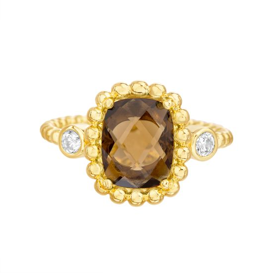 Imagen de Gold-Tone Stainless Steel Center Square Smokey Glass Beaded Border/Band Ring Size 7