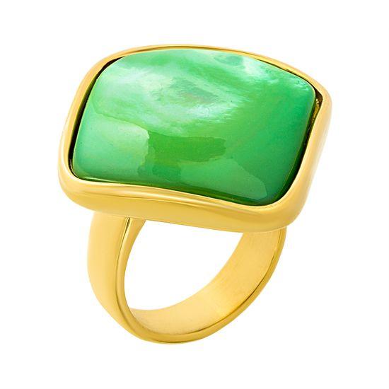 Imagen de Gold-Tone Stainless Steel Green Diamond Shape Bezel Ring