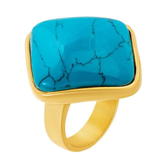 Imagen de Gold-Tone Stainless Steel Diamond Shape  Big Polished Turquoise Stone Ring Size 8