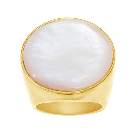 Imagen de Gold-Tone Stainless Steel Freshwater Pearl Circle Bezel Ring