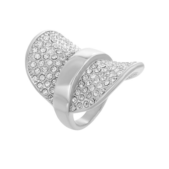 Imagen de Sterling Silver Cubic Zirconia Curved Pave Graduated Ring