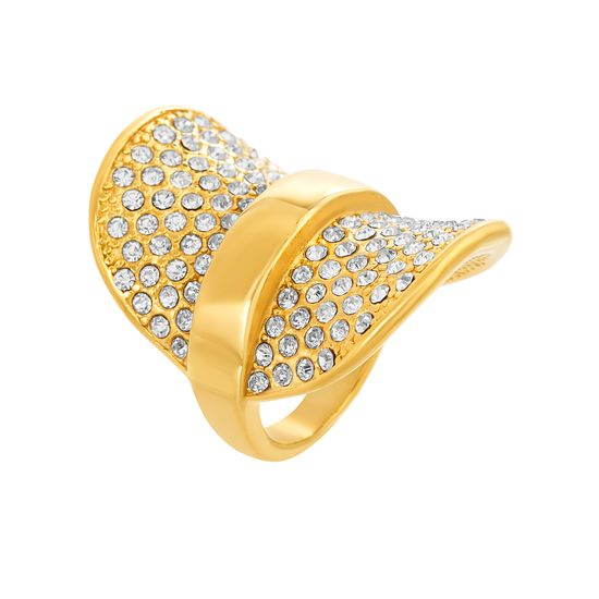 Imagen de Gold-Tone Stainless Steel Cubic Zirconia Saddle Design Ring