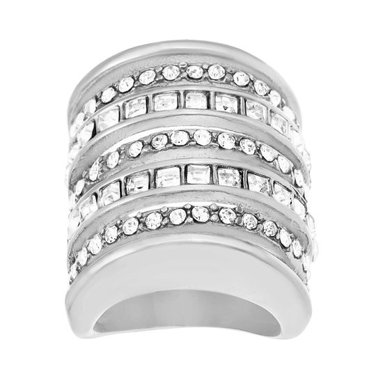 Imagen de Silver-Tone Stainless Steel Square and Round Cubic Zirconia Seven Row Ring Size 8