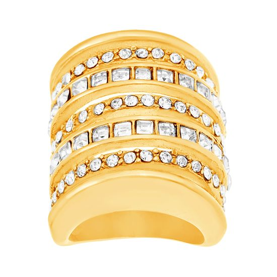 Imagen de Gold-Tone Stainless Steel Square and Round Cubic Zirconia Seven Row Ring Size 9