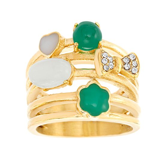 Imagen de Gold-Tone Stainless Steel Cubic Zirconia Emerald/White Bow Flower Heart Open Work Ring Size 8