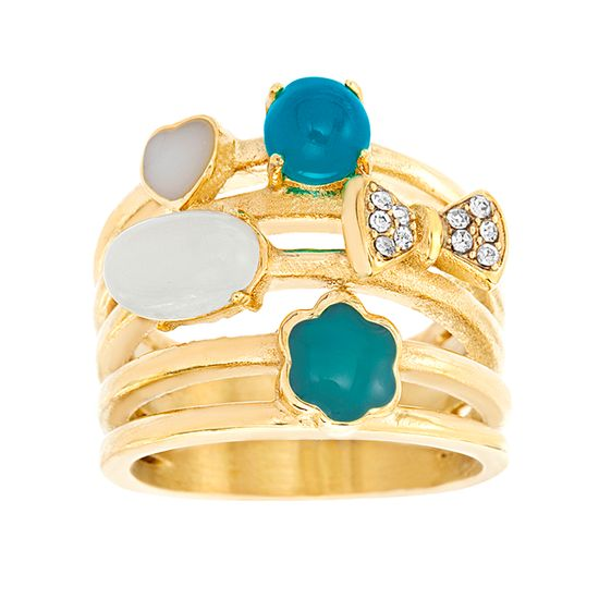 Imagen de Gold-Tone Stainless Steel Cubic Zirconia Turquoise/White Bow Flower Heart Open Work Ring Size 8