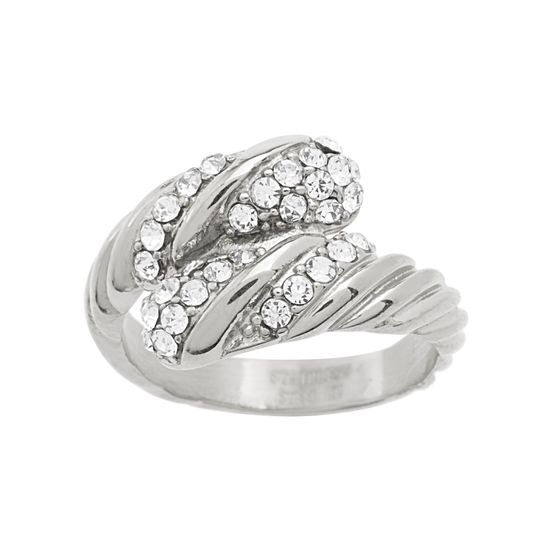 Imagen de Silver-Tone Stainless Steel Cubic Zirconia Bypass Ring Size 6