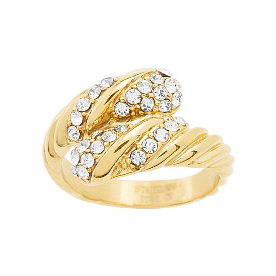 Imagen de Gold-Tone Stainless Steel Cubic Zirconia Bypass Ring Size 9