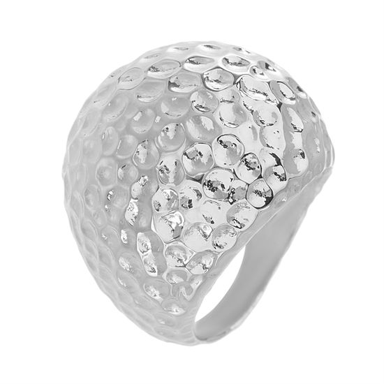 Imagen de Silver-Tone Stainless Steel Hammered Rounded Dome Ring Size 7