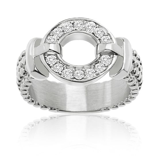Picture of Silver-Tone Stainless Steel Cubic Zirconia Open Circle Ring Size 7