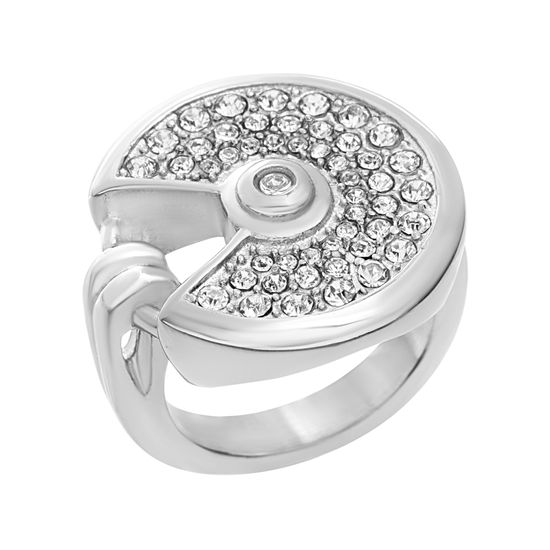Imagen de Silver-Tone Stainless Steel Clear Round with Center Cubic Zirconia Open Ring Size 7
