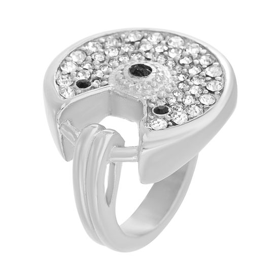 Picture of Silver-Tone Stainless Steel Clear/Black Round Cubic Zirconia Open Ring Size 9