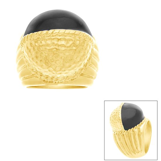 Imagen de STAINLESS STEEL GOLD IP BLACK ENAMEL & HAMMERED ROUND DOME W/ RIBBED SHANK RING