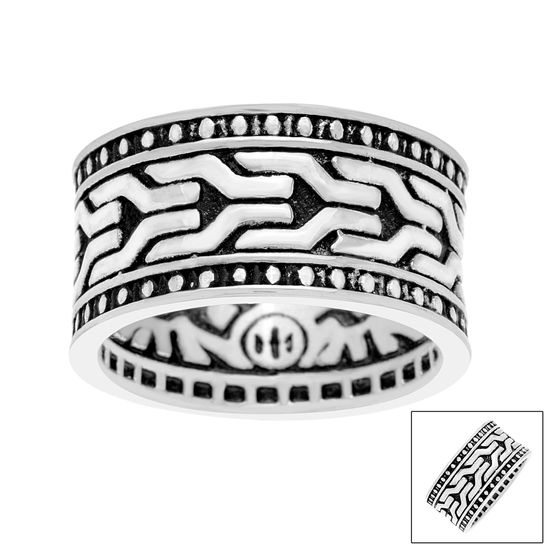 Imagen de Silver-Tone Stainless Steel Textured Eternity Band Men's Ring Size 9