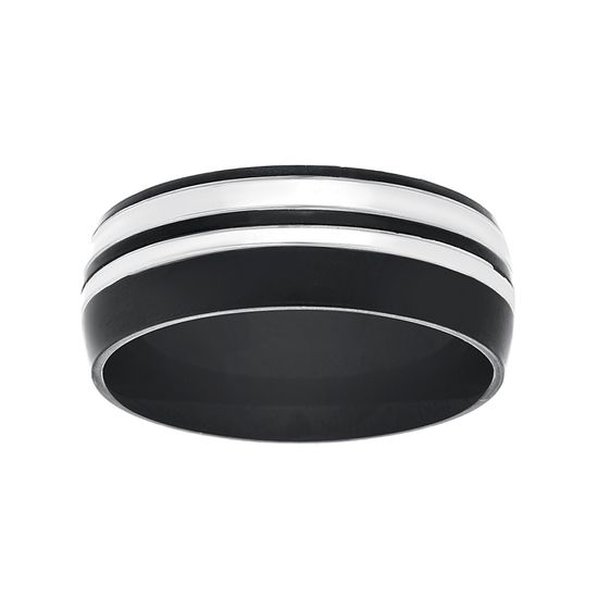 Imagen de Two-Tone Stainless Steel Black Double Striped Band Ring Size 10