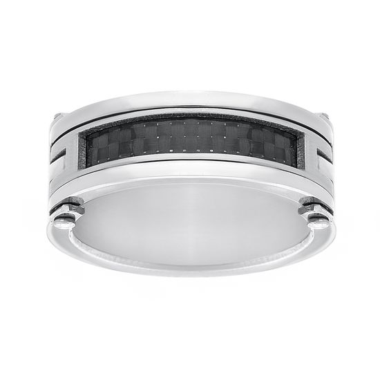 Imagen de Silver-Tone Stainless Steel Men's Black Carbon Fiber Center Row Band Ring Size 10