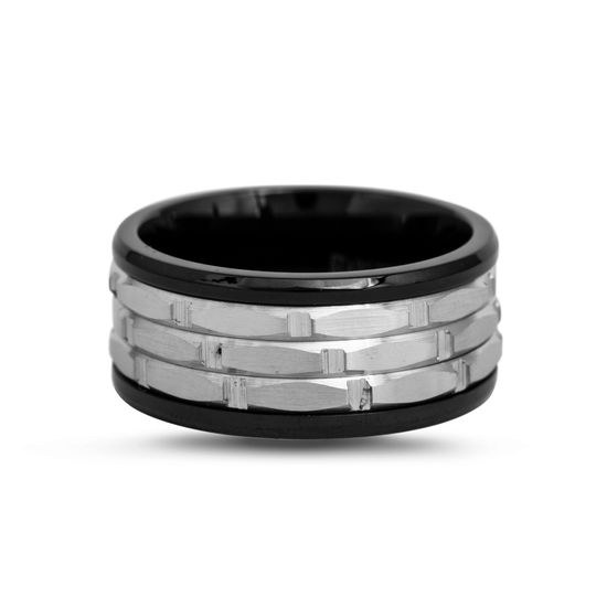 Imagen de Two-Tone Stainless Steel Black 3 Row Textured Band Ring Size 9