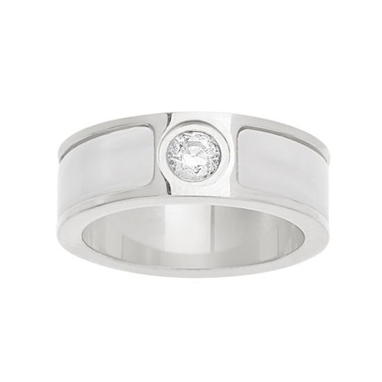 Imagen de Silver-Tone Stainless Steel Center Cubic Zirconia Freshwater Pearl Band Ring Size 7