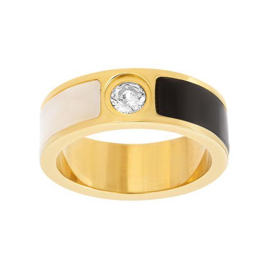 Imagen de Gold-Tone Stainless Steel Cubic Zirconia Black/White Stripe Design Band Ring Size 6