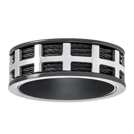 Imagen de Two-Tone Stainless Steel Men's Cross Design With Wires Eternity Band Ring Size 11
