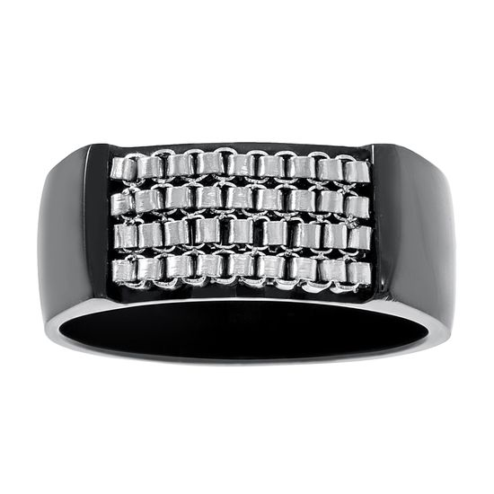 Imagen de Two-Tone Stainless Steel Black4 Row Box Chain Design Center Band Ring Size 11