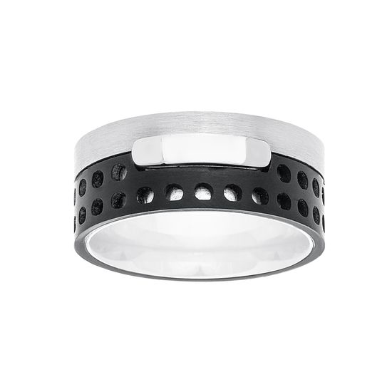 Imagen de Two Tone Black Stainless Steel Small Circle Cut outs Ring Size 11