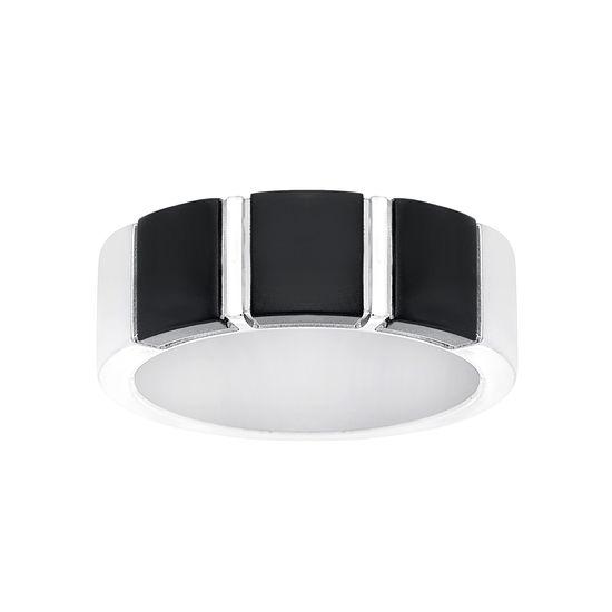 Imagen de Two Tone Black Stainless Steel Bars Designs Ring Size 9