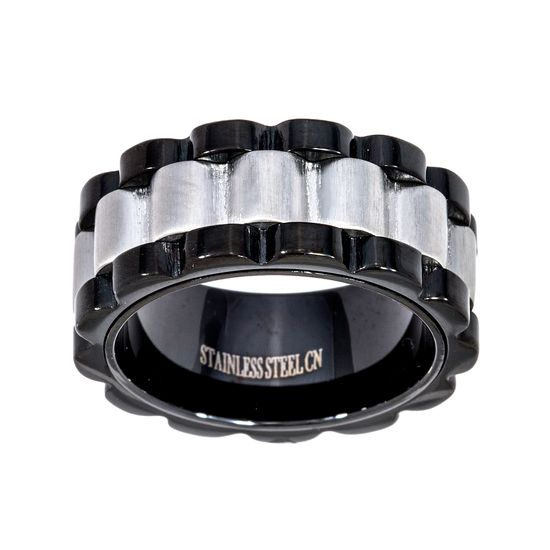 Imagen de Two-Tone Stainless Steel Black Wavy Design Eternity Band Ring Size 9