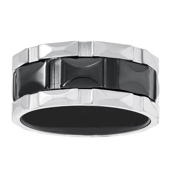 Imagen de Two Tone Black Stainless Steel Facet Band Ring Size 9