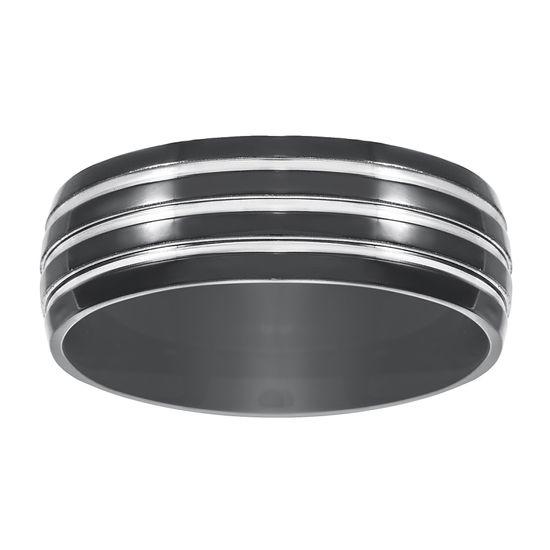Imagen de Two-Tone Stainless Steel Black Triple Stripe Band Ring Size 11
