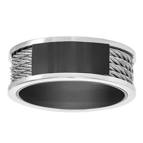 Imagen de Two-Tone Stainless Steel Men's Black Wire Design Band Ring Size 9