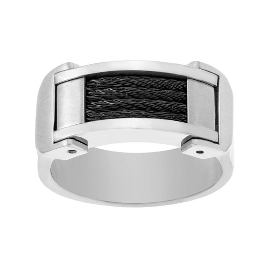 Imagen de Two-Tone Stainless Steel Men's Black/Silver Wire Design Band Ring Size9