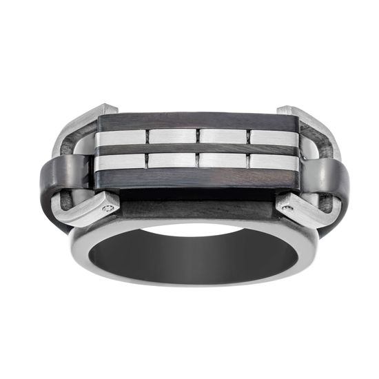Imagen de Two-Tone Stainless Steel Mens Cut Stripe Design Ring Size 9