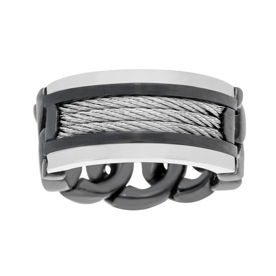 Imagen de Two-Tone Stainless Steel Men's Wire Design and Curb Chain Band Ring Size 9
