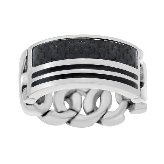 Imagen de Two-Tone Stainless Steel Men's 2 Row Black Enamel Carbon Fiber Design Curb Chain Band Ring Size 9
