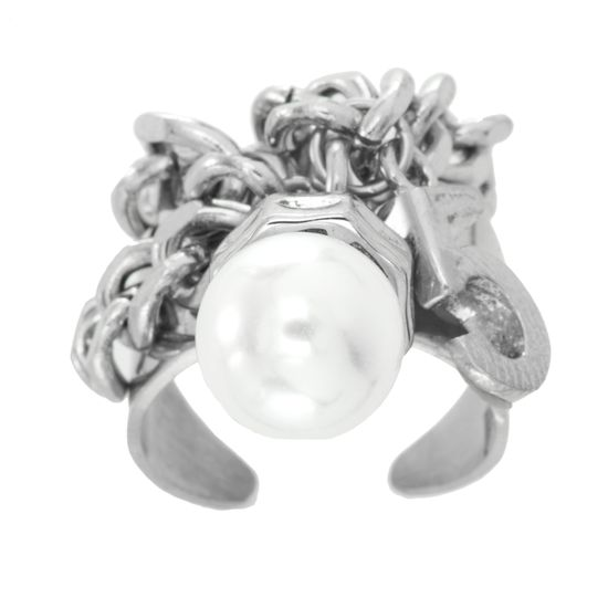 Imagen de Silver-Tone Stainless Steel Freshwater Pearl Lock Charm Cuff Ring Size 6