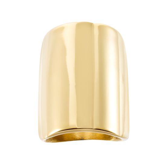 Imagen de Gold-Tone Stainless Steel Large Rectangular Concave Ring Size 7