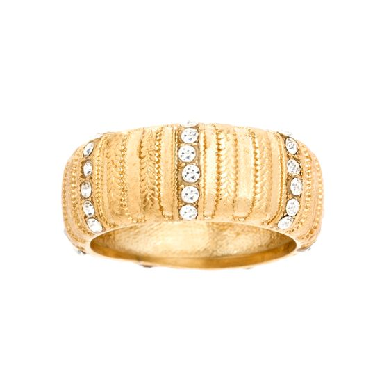 Imagen de Gold-Tone Stainless Steel Cubic Zirconia Textured Design Stripe Ring Size 8