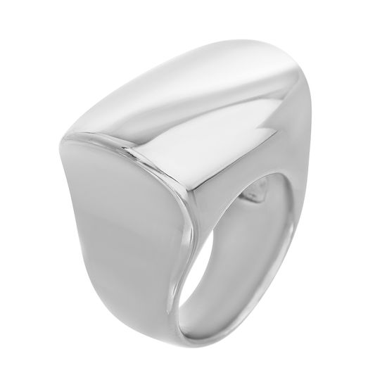 Imagen de Silver-Tone Stainless Steel Polished Oval Bar Ring Size 8