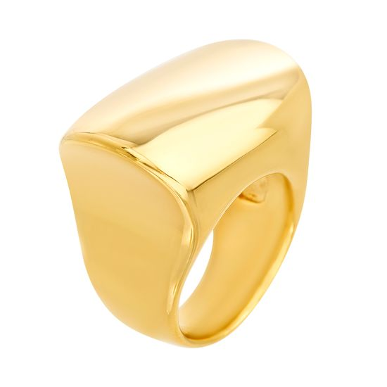 Imagen de Gold-Tone Stainless Steel Polished Oval Bar Ring Size 7