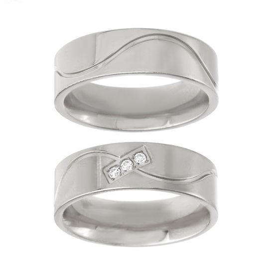 Imagen de Silver-Tone Stainless Steel Cubic Zirconia Satin Finish Wavy Design Wedding Band Ring Set Size 6