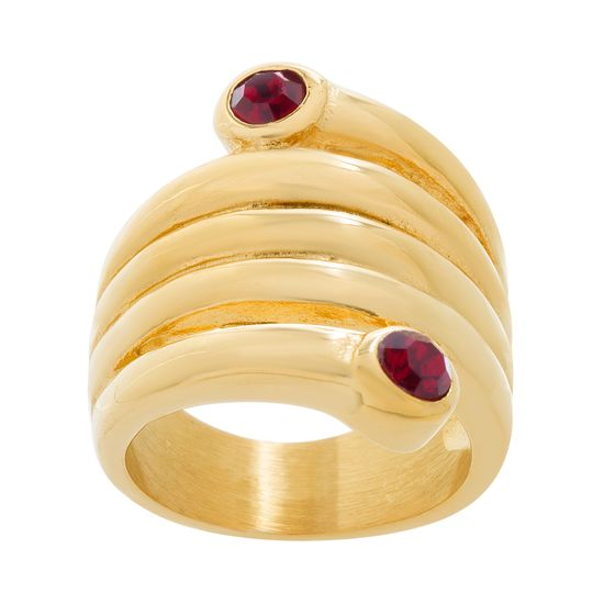 Imagen de Gold-Tone Stainless Steel Red Crystal Coil Design Ring Size 8