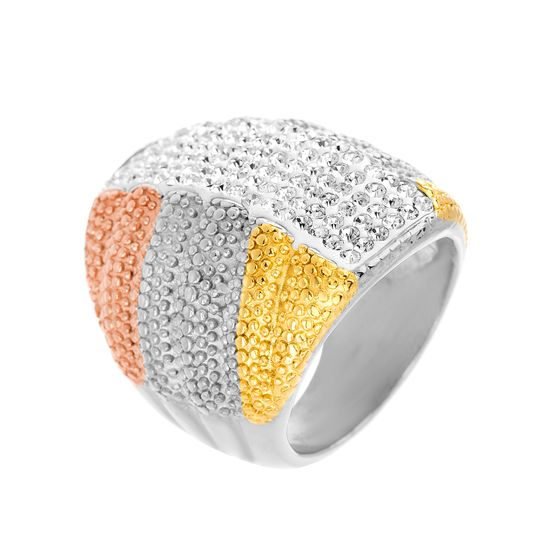 Imagen de Tri-Tone Stainless Steel Cubic Zirconia Ribbed/Beaded Ring Size 7