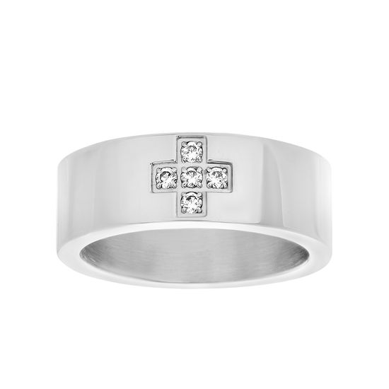 Imagen de Silver-Tone Stainless Steel Men's Cubic Zirconia Cross Polished Band Ring Size 10