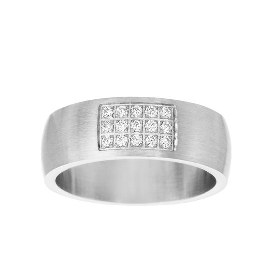 Imagen de Silver-Tone Stainless Steel Men's Center Rectangle Cubic Zirconia Satin Band Ring Size 10