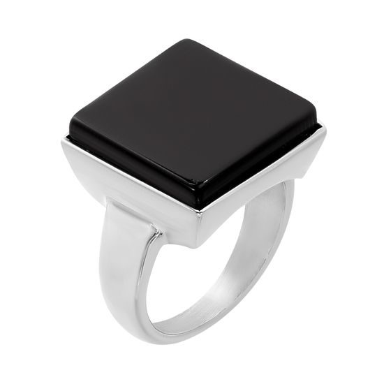 Imagen de Silver-Tone Stainless Steel Squared Black Agate Ring Size 7