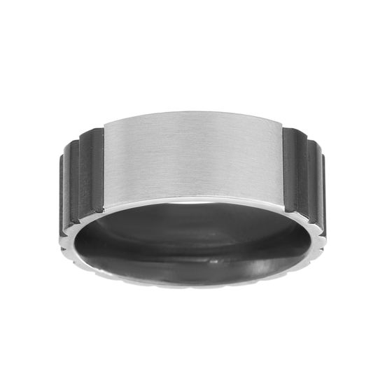 Imagen de Two-Tone Stainless Steel Men's Polished Texture Band Ring Size 10