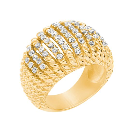 Imagen de Gold-Tone Stainless Steel Cubic Zirconia Coil Ring Size 7
