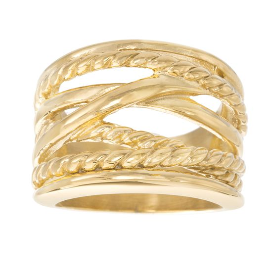 Imagen de Gold-Tone Stainless Steel Polished/ Twisted Multi Crossover Ring Size 8