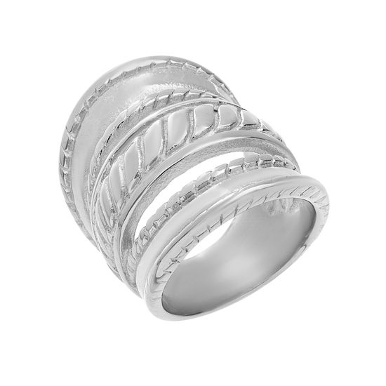 Imagen de Silver-Tone Stainless Steel Open Design Ring Size 8